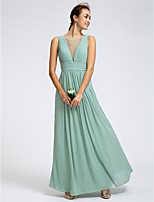 Lan Ting Ankle-length Georgette Bridesmaid Dress - As Picture Sheath/Column Scoop