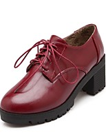 Women's Shoes Leatherette Chunky Heel / Round Toe Boots Outdoor / Office & Career / Casual Black / Blue / Red