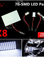 8X Festoon T10 BA9S White LED 70 SMD Panel Interior Dome Map Light Bulb Lamp 12V