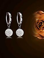 S925 Fine Silver Ball Shape Crystal Drop Earrings