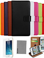 iPhone 7 Plus Solid Color Genuine Leather Case with Screen Protector and Stylus for iPhone 6 6S Plus SE 5S 5