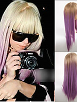 Europe and The United States Ladygaga Synthetic Wigs Purple Dye Long Straight Hair Wig