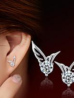 S925 Fine Silver AAA Zircon Wings Stud Earrings (1.1*0.8cm)