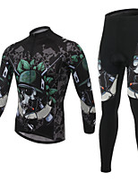 Men's Cycling Clothing Sets New Fashion Skeleton Warriors Pattern Bicycle Sports Comfortable Long  Cycling Jersey 1 Set
