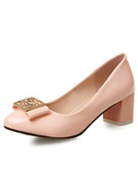 Women's Shoes Patent Leather Summer / Round Toe Heels Office & Career / Casual Chunky Heel Flower Blue / Pink / Beige