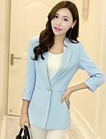 Women's Sweet Solid Blazer , Casual / Work Notch Lapel ¾ Sleeve