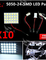 10X   White 5050 LED 24 SMD Panel Map Dome Interior Light+ Festoon T10 BA9S Adapter