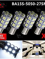 4x Super Bright White Ba15s 1156 Car Rear Turn Light Signal 27 LED SMD Bulb 12V