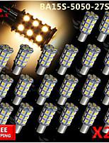 20x Warm White Ba15s 1156 RV Reverse 27 LED SMD Car Rear Turn Light Signal Bulbs