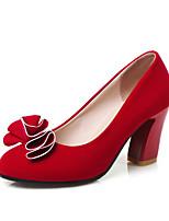 Women's Shoes Chunky Heel Heels / Round Toe Heels Dress Black / Red