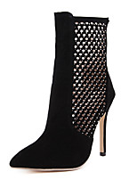Women's Shoes Fleece Stiletto Heel  Pointed Toe Boots Party & Evening / Dress Black