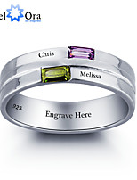 Noble Personalized Lettering Ring Couple Stone 925 Sterling Silver Cubic Zirconia Love Promise Ring For Women