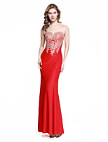 Formal Evening Dress - Ruby Trumpet/Mermaid Notched Floor-length Stretch Satin