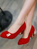 Women's Shoes Fleece / Leatherette Chunky Heel Heels Heels Office & Career / Party & Evening / Dress Blue / Pink / Beige