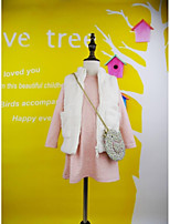 Girl's Pink / White Vest Cotton Winter / Fall