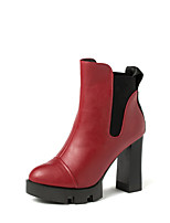 Wangfeier®Women's Shoes Leatherette Chunky Heel Fashion Boots / Bootie / Round Toe Boots Casual Black / Red / Burgundy
