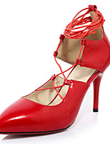 Women's Shoes Leather / Patent Leather Stiletto Heel Gladiator / Pointed Toe Heels Dress Black / Red