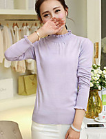 Women's Spring Fashional Lace Round Collar Long Sleeve Solid Slim Knit Pullover