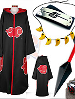 Anime Cosplay Costume Naruto Akatsuki Black Cosplay Cloak with Cap  (5Pcs)