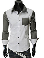Men's Long Sleeve Shirt , Polyester Casual / Work / Formal / Sport Pure