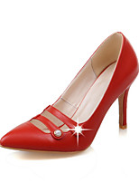 Women's Shoes PU Summer /Pointed Toe Heels Office & Career/Casual Stiletto Heel Imitation Pearl Black/Pink/Red/Beige