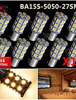 10x Warm White Ba15s 1156 RV Reverse 27 LED SMD Car Rear Turn Light Signal Bulbs