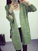 Women's Solid Green / Yellow Cardigan , Casual Long Sleeve