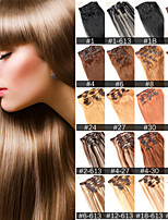 ANNA 7Pcs Brazilian Clip in Human Hair Extensions Brazilian Straight Hair Clip in Extension 70g Virgin Hair Bundles