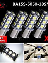 4x Super Bright White Ba15s 1156 Car Rear Turn Light Signal 18 LED SMD Bulb 12V