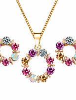Fashion Temperament Circle Color Rhinestones Necklace Earrings Jewelry Sets