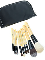 9PCS Bamboo Brush Set with Premium Synthetic Hair, Wood  Handles and Black Pouch