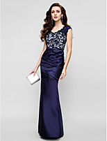 TS Couture Formal Evening Dress - Dark Navy Trumpet/Mermaid Strapless Floor-length Lace / Satin