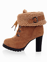 Women's Shoes Leatherette Chunky Heel / Round Toe Boots Outdoor / Office & Career / Casual Black / Brown / Yellow