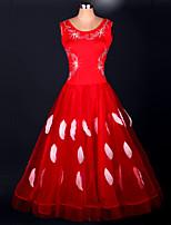 Dança de Salão Vestidos Actuação Elastano / Organza Cristal/Strass / Pano / Paetês 1 Peça Sem Mangas Alto Vestidos S-XXXL: 120-130cm