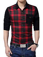 Men's Fashion Plaid Stitching Slim Long-Sleeve Shirt