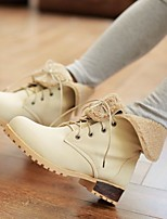 Women's Shoes Leatherette Low Snow Boots / Round Toe Boots Outdoor / Office & Career / Casual Blue / Pink / Beige