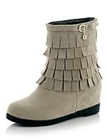 Women's Shoes Leatherette Wedge Heel Wedges / Round Toe Boots Outdoor / Office & Career / Casual Black / Red / Beige