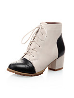 Women's Shoes Low Heel Fashion Boots / Round Toe / Closed Toe Boots Office & Career / Dress Black / Brown / Beige