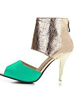 Women's Shoes Leatherette Stiletto Heel Heels / Peep Toe Sandals Party & Evening / Dress / Casual Black / Green