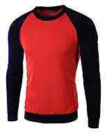 Men's Long Sleeve T-Shirt , Cotton Casual Color Block