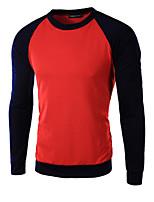 Tee-Shirt Décontracté Pour des hommes Manches longues Couleur Pleine Coton