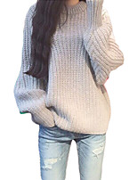 Women's Solid Pink / Gray Pullover , Casual Long Sleeve