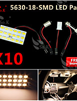 10X  Warm White 5630 18 SMD Panel Map Dome Interior Light+ Festoon T10 BA9S Adapter