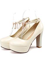 Women's Shoes  Chunky Heel Round Toe / Closed Toe Heels Office & Career / Dress / Casual Blue / Pink / Beige