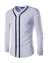 Men's Long Sleeve Shirt , Cotton Casual / Work / Sport Pure