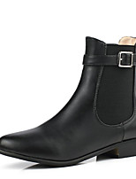 Women's Shoes Leatherette Low Heel Pointed Toe Boots Outdoor / Office & Career / Casual Black / Brown / Almond