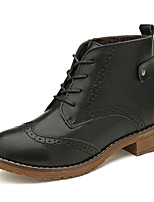 Women's Shoes Cowhide Flat Heel Combat Boots Boots Outdoor / Dress / Casual Black / Brown