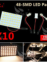 10X Super Warm White 3528 SMD 48LED Panel Festoon T10 BA9S RV Interior Dome Map LED Light