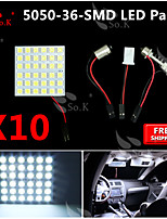10X   White 5050 LED 36 SMD Panel Map Dome Interior Light+ Festoon T10 BA9S Adapter