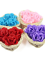Valentine's Day Birthday Gift Romantic 3pcs Roses Soap Flowers With Novelty Gift Rattan Baskets